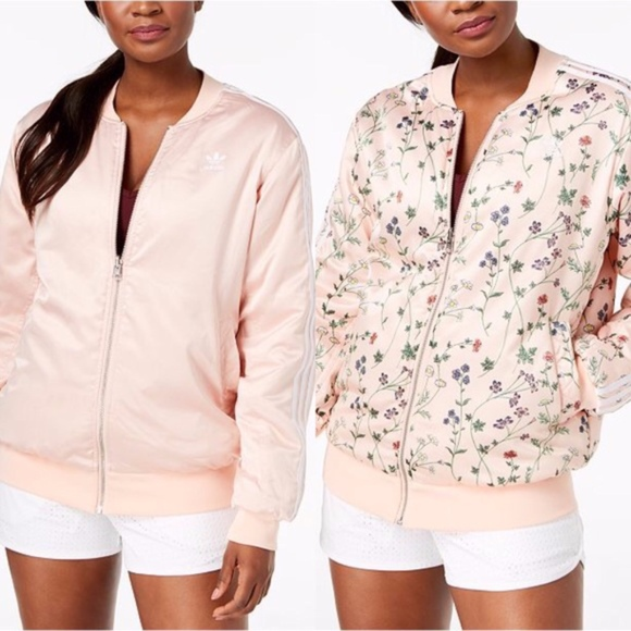 NWT Adidas Pink Floral Love Set Reversible Bomber NWT